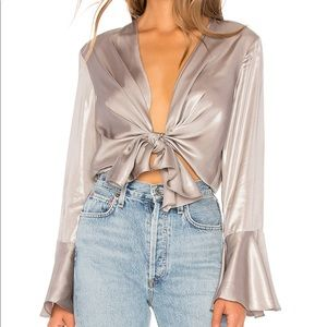 Bardot Silver Shimmer Tie Top • 4/XS • NEVER WORN